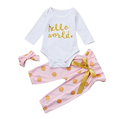 d7667b485e6a Amazon.com: WuyiMC Clearance!! 3Pcs Infant Newborn Baby Girls Hello World  Romper Tops+Pants Clothes Outfit Sets: Clothing