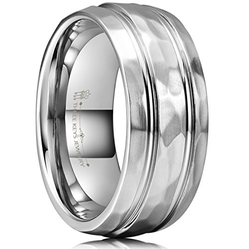 - THREE KEYS JEWELRY 8mm Titanium Wedding Ring Brushed Double Grooved Hammered Wedding Band Engagement Ring Size 14