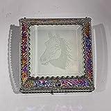 Horse, Stained Glass Jewelry Box, Presentation Box, Keepsake Box, Glass Jewels, Swarovski Crystals, USA Made