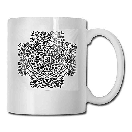 Ceramic Porcelain Mug Celtic Mediaeval Celtic Rotary Heraldic Design with Squared Shape in the Centre Retro Art Milk 11 oz Black White