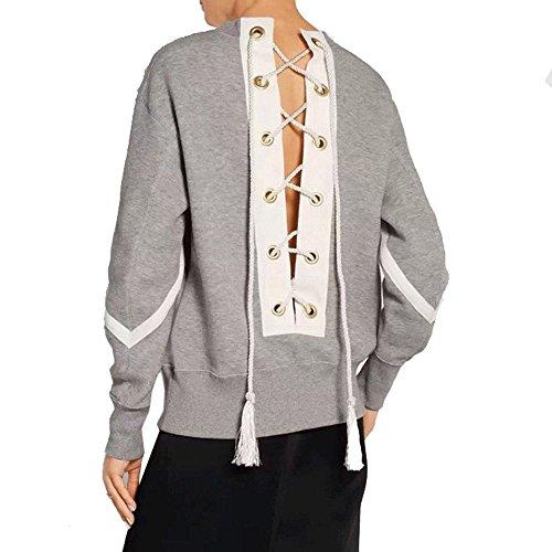 CHENXI Damen Sweatshirt Herbst lange Ärmel Pullover Schnür Tops Sweatshirts