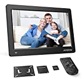 Andoer Digital Photo Picture Frame 13' FHD 1920X1080 IPS Screen Support Calendar/Clock/MP3/Photos/1080P Video Player with VESA Wall Mounting Bracket, 8GB Memory Card, Remote Control (Black)