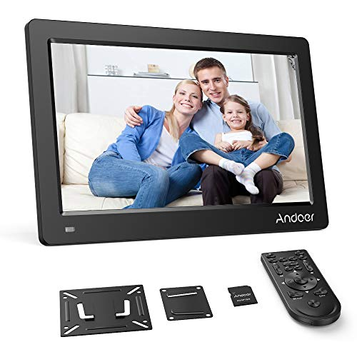 """Andoer Digital Photo Picture Frame 13"""" FHD 1920X1080 IPS Screen Support Calendar/Clock/MP3/Photos/1080P Video Player with VESA Wall Mounting Bracket, 8GB Memory Card, Remote Control (Black)"""