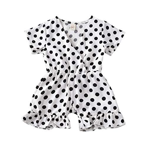 (Kids Girl Outfits Bodysuit, Baby Girls Clothes Polka Dot Onesies Jumpsuit Short Sleeve Ruffle Elastic Shorts White)