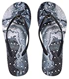 Showaflops Womens' Antimicrobial Shower & Water Sandals for Pool, Beach, Dorm and Gym - Geode on Smoke Marble 9/10