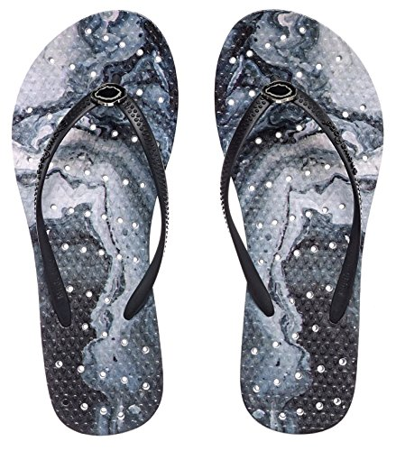 Showaflops Womens' Antimicrobial Shower & Water Sandals for Pool, Beach, Dorm and Gym - Geode on Smoke Marble 9/10 (Sport Sandals Smoke)