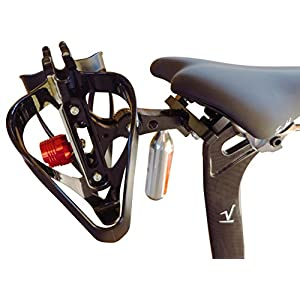 Double Water Bottle / CO2 Cartridge Holder with Tail Light - Behind The Saddle - Includes Cage Valdora