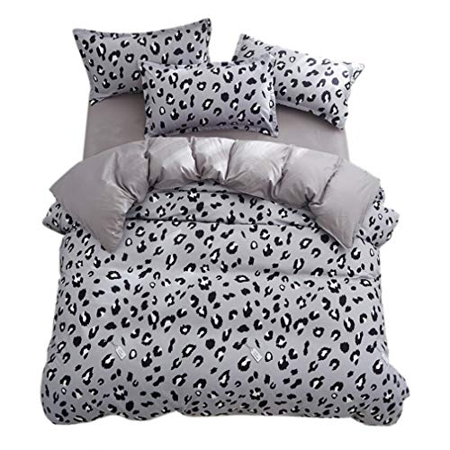 ughome Twin Duvet Cover, Gray Point Leopard Print Bedding Comforter Cover, Zipper Closure and 4 Ties Duvet Cover Sets for Kids