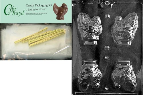 Cybrtrayd MdK50T-T020 Hollow Turkey Thanksgiving Chocolate Mold with Chocolate Packaging Kit, Medium, Includes 50 Cello Bags, 50 Gold Twist Ties and Chocolate Molding (Turkey Chocolate Mold)