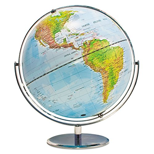 Advantus 30502 12-Inch Globe with Blue Oceans, Silver-Toned Metal Desktop - Desk Advantus