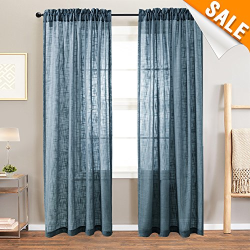 Lazzzy Linen Textured Sheer Curtains for Living Room, Rod Pocket Slub Open Weave Curtain Sets, Two Panels, 52-by-95 Inch, Navy ()