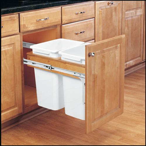 hot sale 2017 Top Mount Trash Pull-Outs with Standard Close Single & Double Bins in Solid Wood Frame, Standard Close Slide Motion 2 Bins 35 Quarts Bin Size