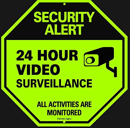 Famtec Video Surveillance Sign - 40 mil Rust Free Aluminium - Glow-in-the-Dark-Signs, Home Business, 24 Hours Security, All Activities are Monitored -CCTV Security Alert-Large 12 X 12 Octagon (Blue)