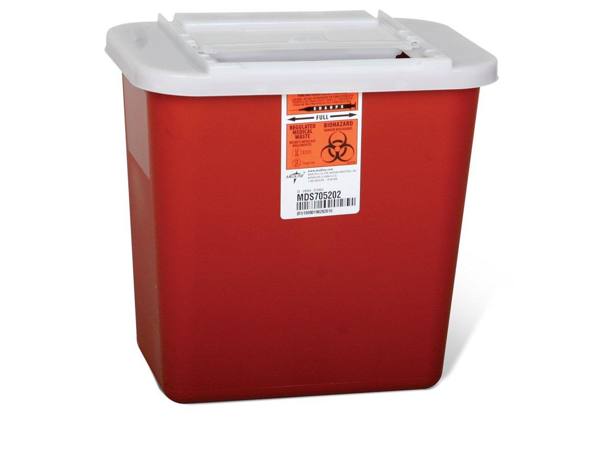 Medline MDS705202 Sharps Container, 2 gal, Sliding Lid, Red (Pack of 20) by Medline