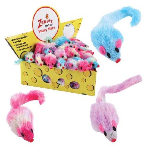 Zanies ZA1107 60 21 60-Piece Cheese Wedge Display Set with Fuzzy Mice Toys