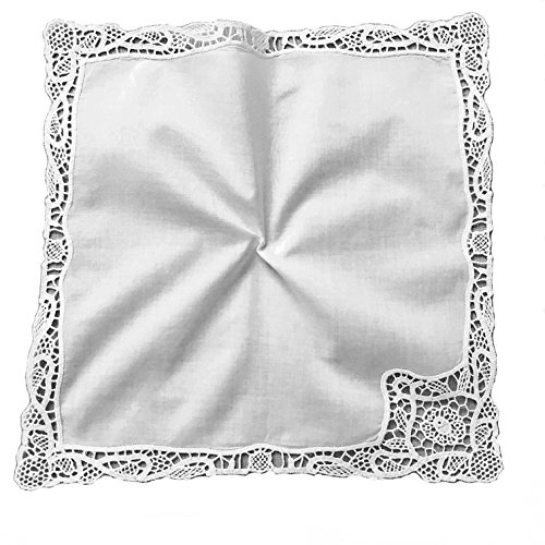 Elegant Wedding Embroidery Crotchet Lace Handkerchiefs for Bride and Ladies, - Bridal Hanky Wedding