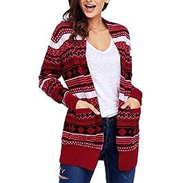 Lovezesent Women's Geometric Knit Oversized Drape Cardigan Christmas Sweaters
