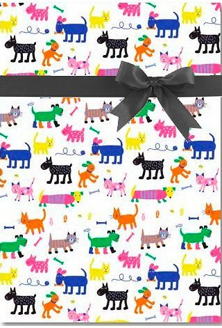 Cute Cat Dog & Bone All Occasion Gift Wrap Wrapping Paper Large 18ft -