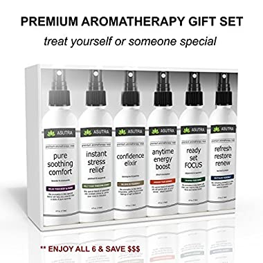 Premium Aromatherapy Mist -  SIX BOTTLE VARIETY - VALUE/GIFT SET  - 100% ALL NATURAL & ORGANIC Ingredients, Therapeutic Essential Oil Blends - 100% GUARANTEED