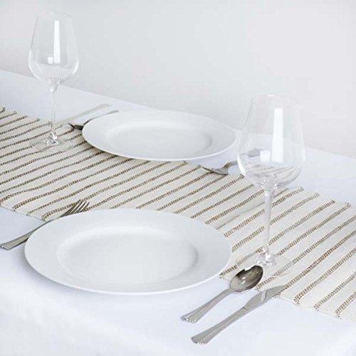 Tableclothsfactory CHAMBURY CASA Splendid Rustic Burlap Runner w/Stripes - Natural