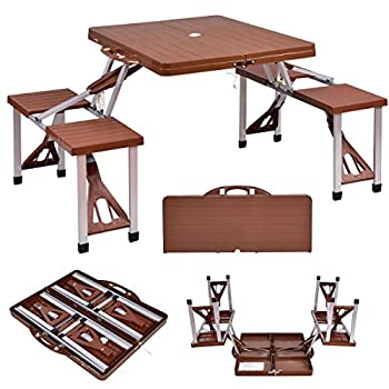 Giantex Portable Folding Picnic Table with Seating for 4 Garden Party Camping Time Design (Brown)