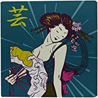 3dRose Pretty Geisha Woman Holding Japanese Fan with Kanji Symbol Modern Colors Vector Illustration Mouse Pad (mp_116182_1)