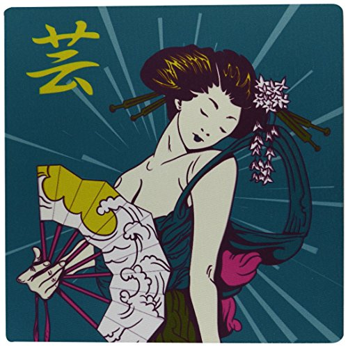(3dRose Pretty Geisha Woman Holding Japanese Fan with Kanji Symbol Modern Colors Vector Illustration Mouse Pad (mp_116182_1))