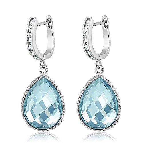 (Gem Stone King 925 Sterling Silver Blue Topaz Pear Shape Dangle Earrings, Gemstone Birthstone 19.00)
