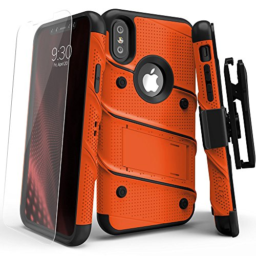 Price comparison product image iPhone X Case - Zizo [Bolt Series] with Screen Protector,  Kickstand [12 ft. Military Grade Drop Tested] Holster Belt Clip (Orange / Black)