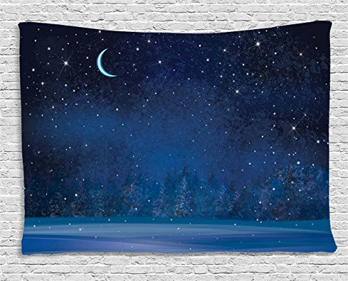 Ambesonne Moon Decor Tapestry, Mystic Winter Wonderland with Starry Sky Dark Night Magical Forest Landscape, Wall Hanging for Bedroom Living Room Dorm, 80 W X 60 L Inches, Dark (Winter Wonderland Backdrop Ideas)