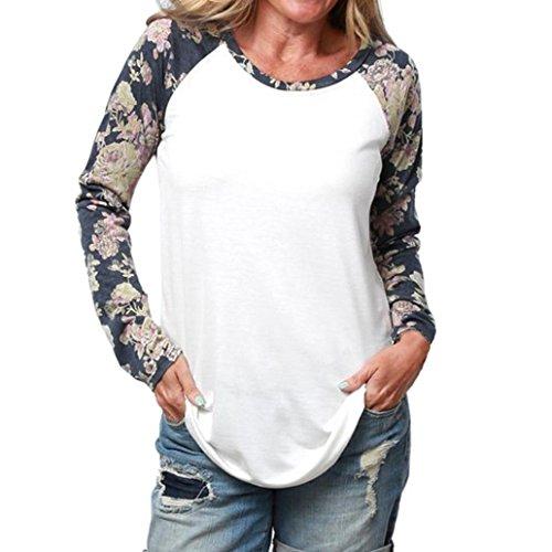 Lisingtool Women Long Sleeve Flower Blouse Loose Tops Tee Shirt (L, White)