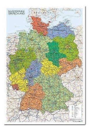 Deutschland Poster Landkarte Kork Pinnwand Weiss Rahmen 96 5 X 66