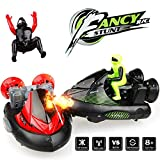 RC Battle Bumper Cars, KINGBOT 2 Sets 27MHz/40MHz Stunt Car Remote Control Cars Vs Vehicles Electric Trucks with Ejectable Drivers Red/Green, Model 2