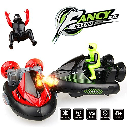 RC Battle Jet Ski Bumper Cars, Set of 2 Stunt Remote Control Battle Vehicles 27MHz/40MHz, Speed Electric Trucks with Ejectable Drivers (Jet Radio Remote Control)
