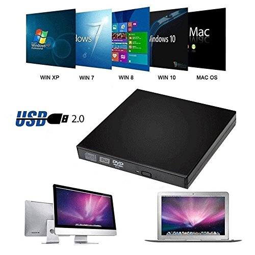 Price comparison product image Elephant XuBlack Slim USB2.0 External Player External USB + DVD Combo CD-R / RW CD-ROM / XA DVD-ROM Burner Drive + Power Cord ,  Supports CD Burning for Computer, Laptop, TV and USB Port Device