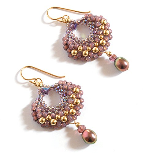Gold Spinel Earrings - Art Earrings with Plum Spinel and Cultured Freshwater Pearl Drops, Artisan Crafted in 14K Gold Fill