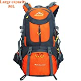 SHINENGkeji Backpack,50L Outdoor Recreation Backpack,Large Capacity Durable Travel Lightweight Water Resistant Hiking Daypack Rucksack (orange) For Sale