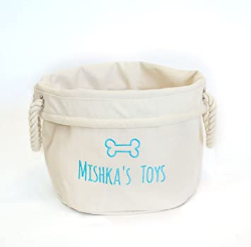 fda23d4dcfba Personalised Embroidered Dog Toys Basket Storage Bag, Gifts for Dogs ...