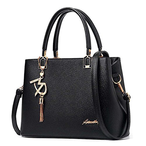 Handbag Double Shoulder (Womens Purses and Handbags Shoulder Bags Ladies Designer Top Handle Satchel Tote Bag (Black))