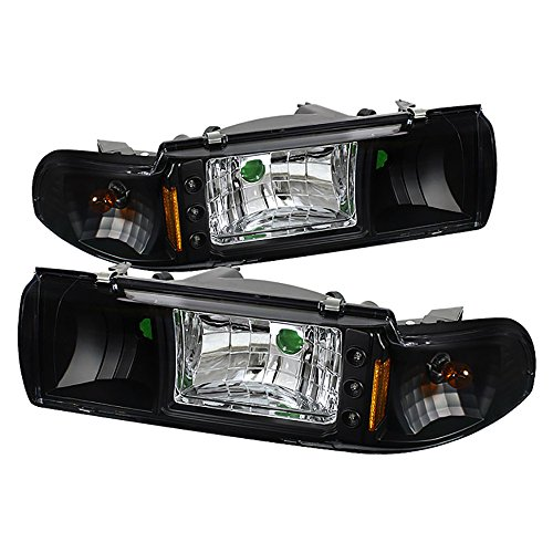 VIPMOTOZ Matte Black Headlight Assembly For 1991-1996 Chevy Caprice & Impala SS, Driver and Passenger Side