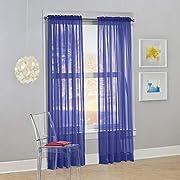 "No. 918 Calypso Sheer Voile Rod Pocket Curtain Panel, 59"" x 63"", Purple, 1 Panel"