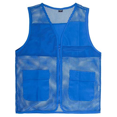TOPTIE Adult Mesh Zipper Supermarket Vest Team Volunteer Uniform Vest