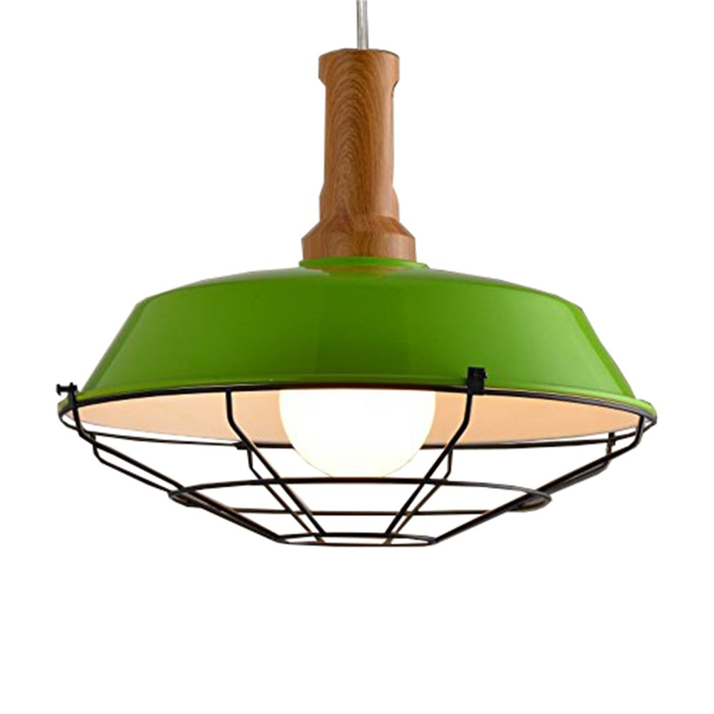 JINGUO Lighting Industrial 1 Light Pendant Light Cage LED Chandelier Barn Style Hanging Lamp Ceiling Fixture with Wood Accent for Kitchen Restaurant Dining Room Cafe Living Room Green
