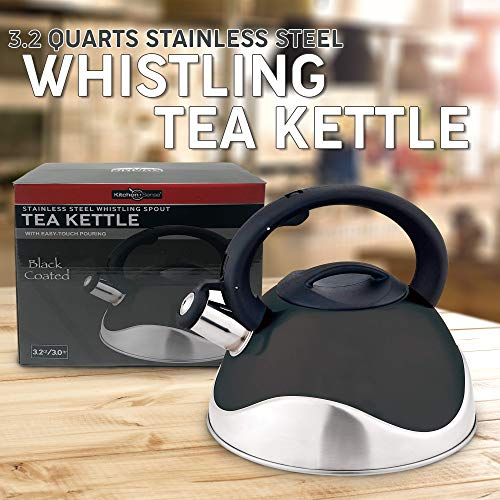 Whistling Stainless Steel Food Grade Black Tea Kettle with Soft Grip Anti-Hot Handle Anti-Rust 13 Cup Teapot by American Dream- Stovetop Suitable  for All Heat Sources Capsuled Bottom Teakettle by American Dream (Image #1)