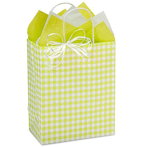 Apple Green Gingham Paper Shopping Bags - Cub Size - 8 x 4 3/4 x 10 1/4in. - 150 Pack by NW