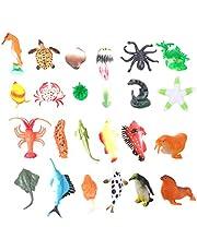 TOYANDONA 24 Stks Zee Oceaan Dieren Plastic Zwembad Speelgoed Set Voor Gunst Benodigdheden Display Model Speelset Realistische Zeedieren Cijfers Verjaardagscadeau Voor Kinderen Onderwijs