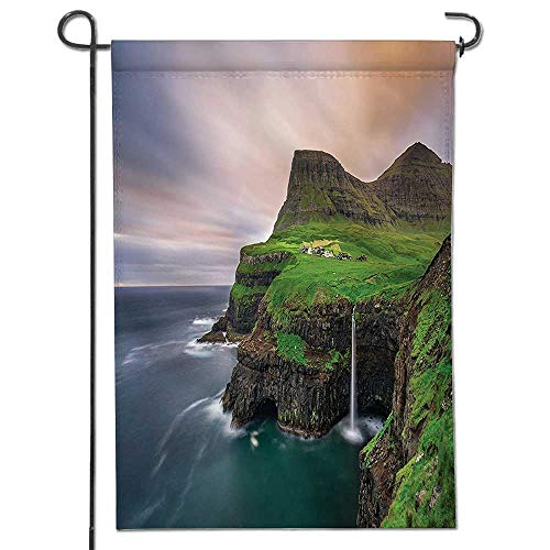 Northern Garden Collection - Mikihome Welcome Garden Flag Decor Collection Aerial View of Majestic Cliffs in Northern Village and Iconic Waterfall Polyester, Yard Flag to Brighten up Your Home