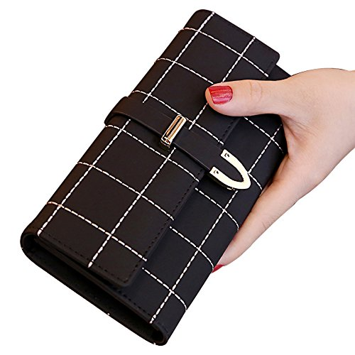 WANSI Women's leather Long Wallets large capacity multi-function three fold wallet clutch (Black) Top Fold Checkbook Wallet