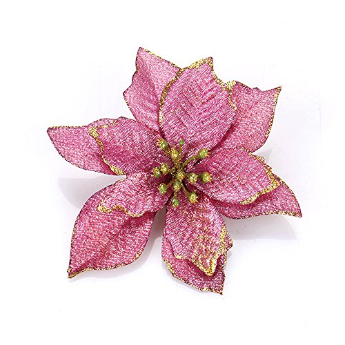 Ornerx 30 Pcs Glitter Poinsettia Flower Christmas Tree Ornament Purple ()