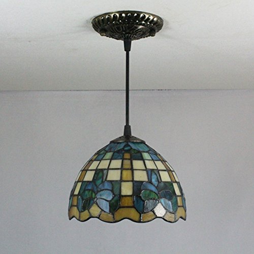 Chandelier 8-Inch pastoral Magnolia green style tiffany pendant light ceiling porch lamp Tiffany Magnolia